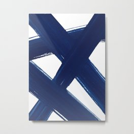Indigo Abstract Brush Strokes | No. 3 Metal Print
