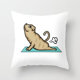 Shar Pei Yoga Pose Throw Pillow