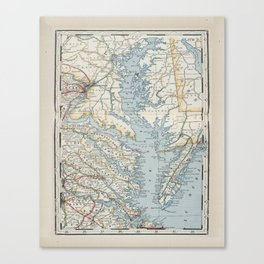 Vintage Map of the Chesapeake Bay (1901) Canvas Print