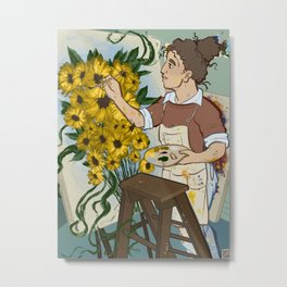 Patty Paints Flowers Metal Print