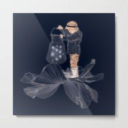 Whimsical print , art for boys room , quirky art , fireflies print poster Metal Print