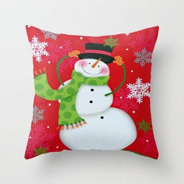 Happy Snowman Throw Pillow