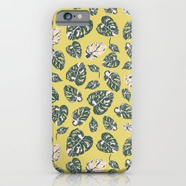 Variegated monstera in yellow and green iPhone Case