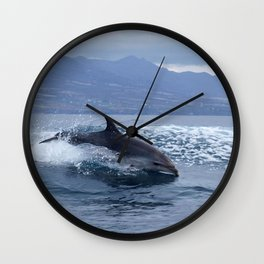 Wild and free bottlenose dolphin Wall Clock