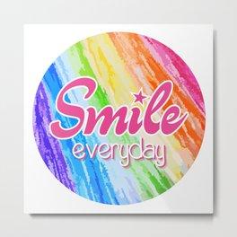 Smile Everyday, Happy sticker, Cute sticker, crayon colors, pink version Metal Print
