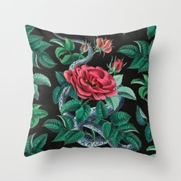 Red rose and blue snake Throw Pillow