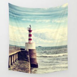 Amble Pier Lighthouse Wall Tapestry