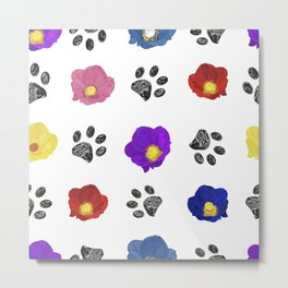 Primulaceae Colorful Flowers and Hand Drawn Paw Print Pattern Metal Print