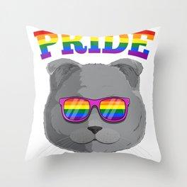 Gay Pride Scottish Fold Cat with LGBT Rainbow Sunglasses Throw Pillow