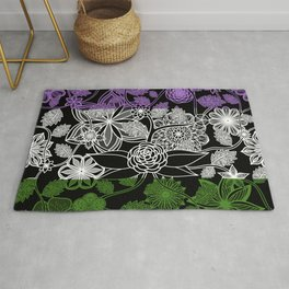 Flight Over Flowers of Fantasy - Genderqueer Pride Flag Rug
