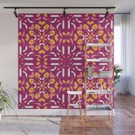 Warm Auburn Mandala - Burnt Siena Terracotta Symmetric Tile - Floral Yellow Abstract Wall Mural