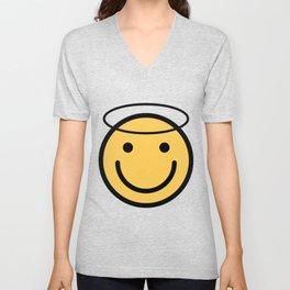 Smiley Face   Halo Holy Smiling Face Unisex V-Neck