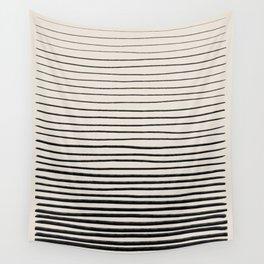 Black Horizontal Lines Wall Tapestry