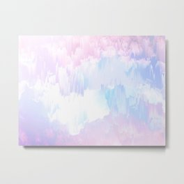Sky Fall Dream Pastel Glitch - pink and blue Metal Print