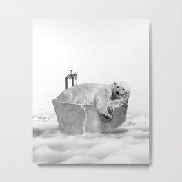 POLAR BEAR BATH Metal Print