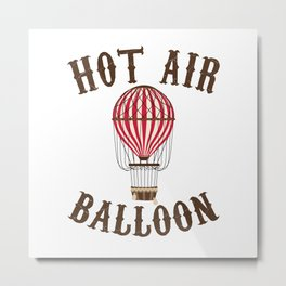 Hot Air Balloon Retro Balloonist Pilot Ballooning Metal Print
