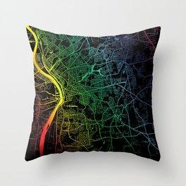 Springfield, MA, USA, City, Map, Rainbow, Map, Art, Print Throw Pillow