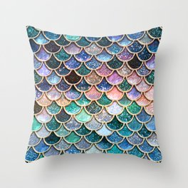 Multicolor Pink And Aqua Mermaid Scales - Beautiful Abstract Glitter Pattern  Throw Pillow