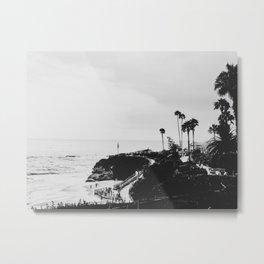 Laguna Beach | LoFi Black and White Relaxed Aesthetic Pink Sunset Palm Trees Hippie Ocean Waves Metal Print