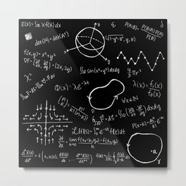 Chalkboard Math Equations Metal Print