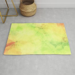 Green and orange abstract hexagons, background style Rug