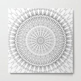 Gray White Mandala Metal Print