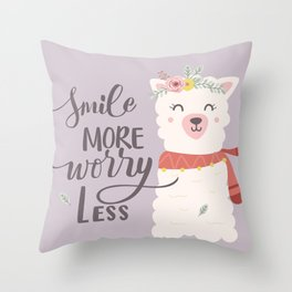 Smile More Worry Less, Cute Baby Alpaca Advice Throw Pillow