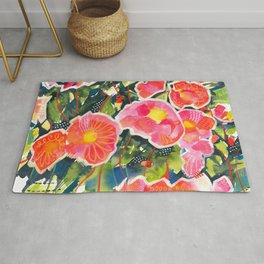 Happiness - Colorful painting of Camellia Rug