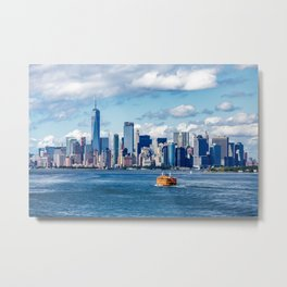 New York City with Ferries and Planes Metal Print