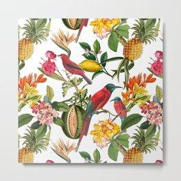 Vintage & Shabby Chic - Spring Tropical Birds Fruit Botanical Garden     Metal Print