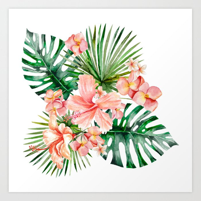 Tropical Jungle Hibiscus Flowers - Floral Kunstdrucke
