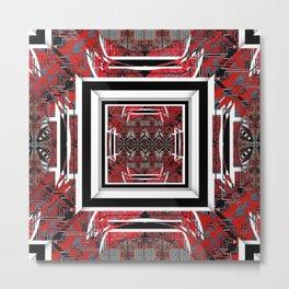 NUMBER 221 RED BLACK GRAY WHITE PATTERN Metal Print