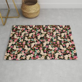 Doxie Florals - vintage doxie and florals gift gifts for dog lovers, dachshund decor, cream doxie Rug