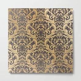 Gold swirls damask #1 Metal Print