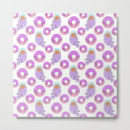 Cute happy funny little space cats in spacesuits, sweet yummy Kawaii adorable pink donuts cartoon white pattern design. Astronauts. Metal Print