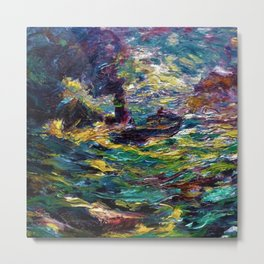 1910 Classical Masterpiece 'Ship on Stormy Seas' by Emil Nolde Metal Print