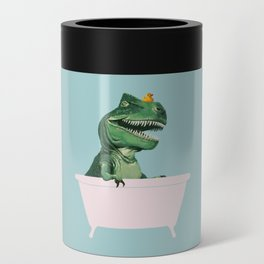 Playful T-Rex in Bathtub in Green Can Cooler