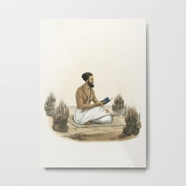 Punch Agnee from The Sundhya or the Daily Prayers of the Brahmins (1851) by Sophie Charlotte Belnos Metal Print