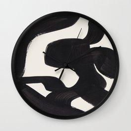 Mid Century Modern Minimalist Abstract Art Brush Strokes Black & White Ink Art Maze Wall Clock