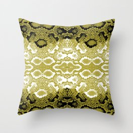 Snake skin scales texture. Seamless pattern black yellow gold white background. simple ornament Throw Pillow