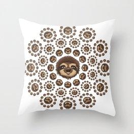 Totally Slothsome Mandala Sloth Art Design Throw Pillow