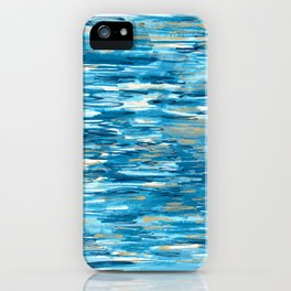 Golden Reflections - Abstract Watercolor Ocean Inspired Painting iPhone Case