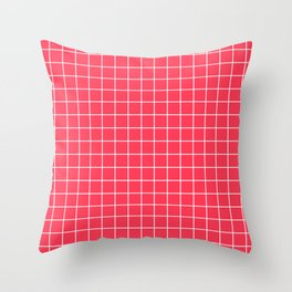 Sizzling Red - fuchsia color - White Lines Grid Pattern Throw Pillow