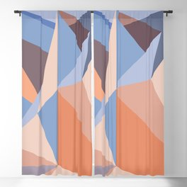 Geometric pattern in coral and blue Blackout Curtain
