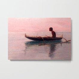 Man in his outrigger wa'a, Pink Sunset Hanauma Hawaiian landscape painting by D. Howard Hitchcock Metal Print