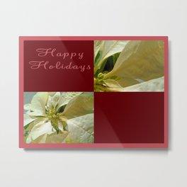 Pale Yellow Poinsettia 1 Happy Holidays Q10F1 Metal Print