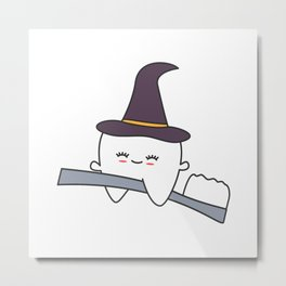 cute cartoon tooth with witch hat flying on toothbrush funny halloween illustration Metal Print