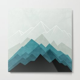 Mountains Fading Geometric Metal Print