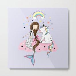 Mermaid & Unicorn Metal Print