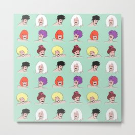 Moustaches and Wigs (pattern) Metal Print